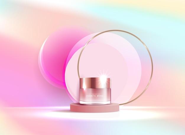 Annunci di cosmetici o prodotti per la cura della pelle con banner pubblicitari per bottiglie per prodotti di bellezza color pastello