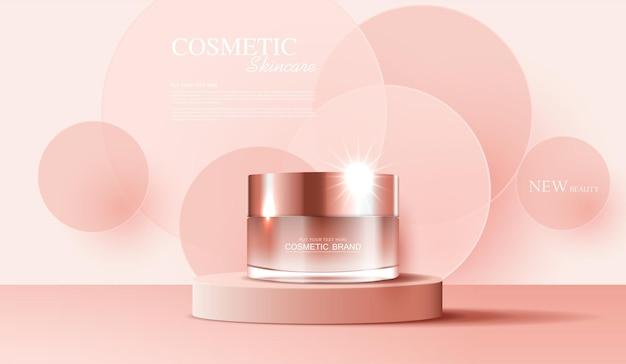 Annunci di cosmetici o prodotti per la cura della pelle con banner pubblicitari per bottiglie per prodotti di bellezza di colore rosa