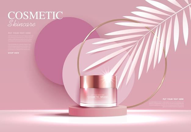 Annunci di cosmetici o prodotti per la cura della pelle con banner pubblicitari per bottiglie per prodotti di bellezza rosa e foglia