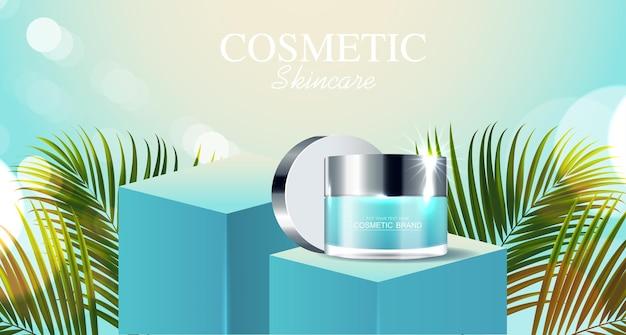Annunci di cosmetici o prodotti per la cura della pelle con sfondo blu bottiglia con foglie tropicali vettore