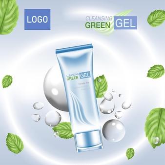 Annunci di cosmetici o prodotti per la cura della pelle con bottiglia di foglie verdi blu e sfondo verde chiaro