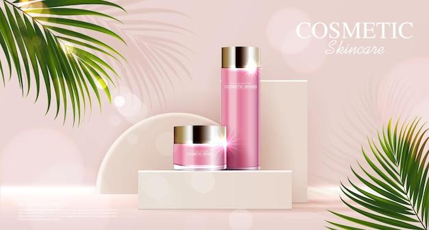 Annunci di cosmetici o prodotti per la cura della pelle con sfondo rosa bottiglia con foglie tropicali vettore