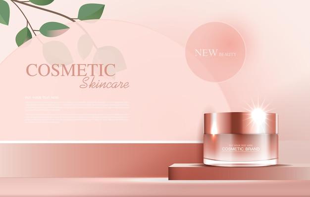 Annunci di cosmetici o prodotti per la cura della pelle con bottiglia, foglie tropicali. disegno di illustrazione vettoriale.