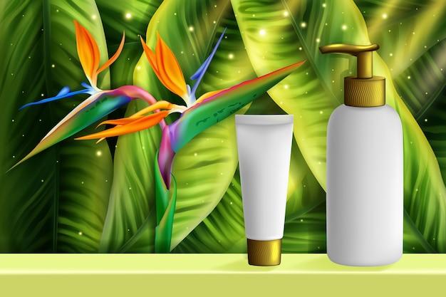 Illustrazione di cosmetici per la cura della pelle.