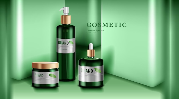 Prodotti cosmetici o per la cura della pelle. bottiglia verde e priorità bassa verde della parete.