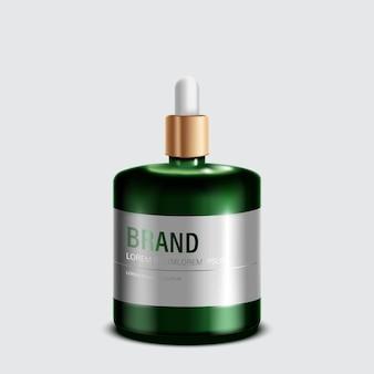 Prodotti cosmetici o per la cura della pelle. bottiglia verde mockup e sfondo bianco isolato. illustrazione.