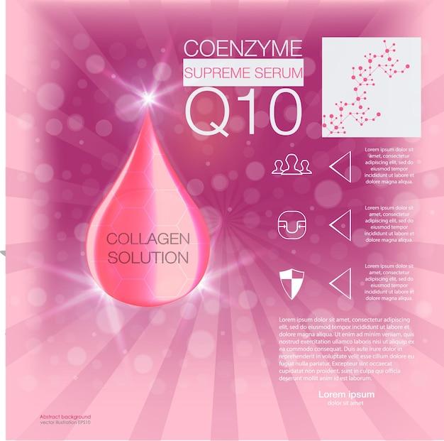 Soluzione cosmetica essenza di goccia di olio di collagene supremo con elica di dna concetto di sfondo cura della pelle cosmetic Vettore Premium