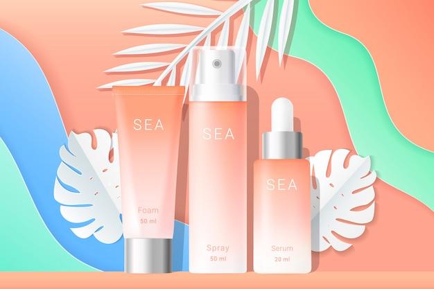 Modello di annunci di cosmetici spray e crema tubi