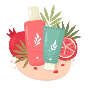 Cosmetici con estratto di melograno Vettore Premium