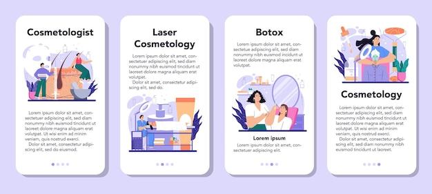 Set di banner per applicazioni mobili per cosmetologo. cura della pelle e procedura di trattamento per la pelle problematica. cosmetologia di rivitalizzazione con botox e laser. illustrazione vettoriale isolato