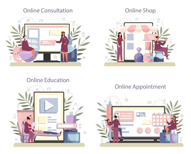 Servizio online di cosmetologo o set di piattaforme, cura e trattamento della pelle.