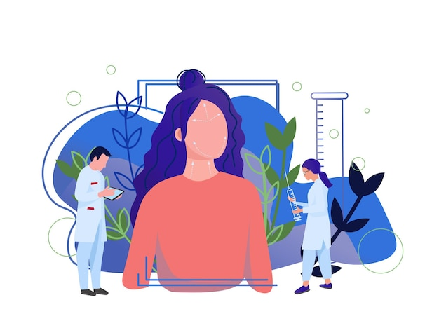 Cosmetologia concetto antietà mesoterapia e illustrazione vettoriale iniezione ialuronico