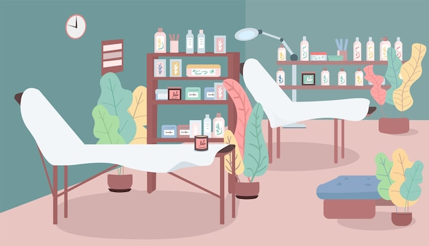 Illustrazione di colore piatto del salone di cosmetologia. spa e massaggi. servizi di depilazione e addolcimento. apparecchiature per procedure di cura della pelle interiore del fumetto 2d con mobili sullo sfondo