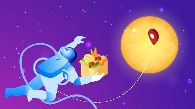 Illustrazione piana di vettore di consegna cosmica dell'alimento