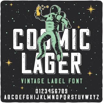 Carattere tipografico etichetta cosmic lager
