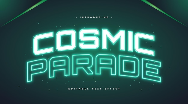 Testo di parata cosmica con effetto neon verde incandescente. effetto stile testo modificabile