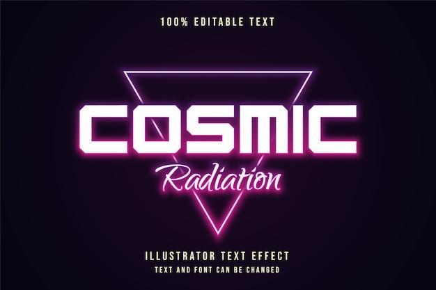 Radiazione cosmica, stile di testo al neon con gradazione viola effetto testo modificabile