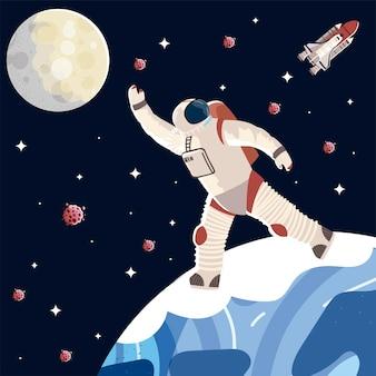 Carattere del cosmonauta nell'illustrazione della tuta spaziale e del casco