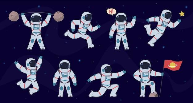 Personaggi cosmonauti in pose diverse