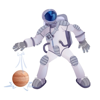 Cosmonauta e illustrazione del pianeta