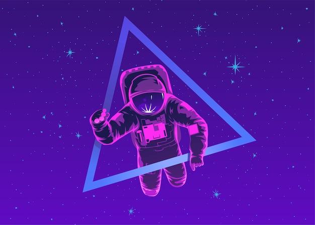 Cosmonauta in tuta spaziale che esegue la passeggiata nello spazio contro stelle e pianeti sullo sfondo. volo nello spazio. volo spaziale umano. moderna illustrazione colorata.