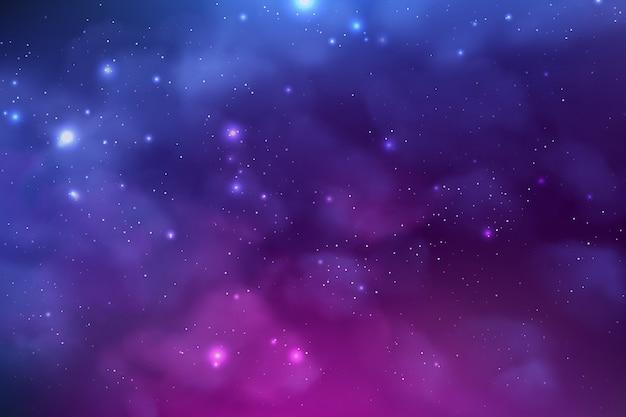 Sfondo cosmo con polvere di stelle realistica; nebulosa e stelle lucenti. sfondo colorato galassia.