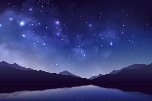 Sfondo cosmo con polvere di stelle realistica, nebulosa, stelle brillanti, montagne e lago.