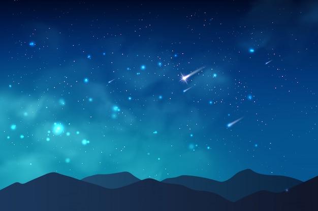 Sfondo cosmo con polvere di stelle realistica, nebulosa, stelle brillanti e montagne.
