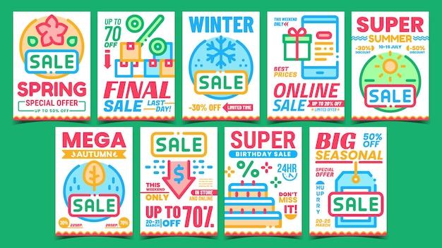 Set di poster promozionali promozionali di riduzione dei costi Vettore Premium