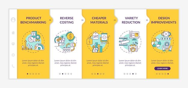 Modello di onboarding delle strategie di riduzione dei costi. riduzione della varietà. miglioramenti del design sito web mobile reattivo con icone. schermate dei passaggi della procedura guidata della pagina web.