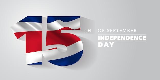 Costa rica felice giorno dell'indipendenza biglietto di auguri, banner, illustrazione vettoriale. festa nazionale del costa rica 15 settembre sfondo con elementi di bandiera