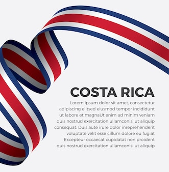 Illustrazione vettoriale di bandiera del nastro della costa rica su uno sfondo bianco vettore premium