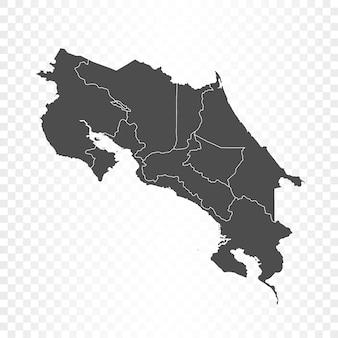 Mappa costarica isolata su trasparente