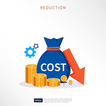 Riduzione dei costi, riduzione dei costi, illustrazione del concetto di business di ottimizzazione dei costi.