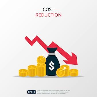 Simbolo di riduzione dei costi con sacco di soldi e illustrazione curva o freccia discendente.