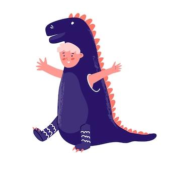 Festa di capodanno in costume per bambini ragazzo in costume festivo i dinosauri celebrano le vacanze