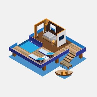 Cottage nell'illustrazione isometrica di progettazione di massima del mare