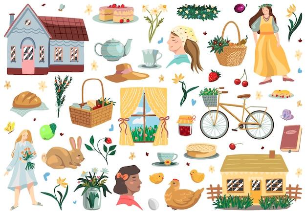 Insieme di cottagecore. illustrazioni vettoriali di estetica del villaggio. raccolta di clipart di colore pastello carino isolato di bianco. disegni della natura, ragazza, cottage accogliente, prodotti da forno fatti in casa. per decorazioni, adesivi, design