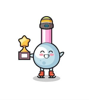 Il cartone animato di cotton fioc come un giocatore di pattinaggio sul ghiaccio tiene il trofeo del vincitore, un design in stile carino per t-shirt, adesivo, elemento logo