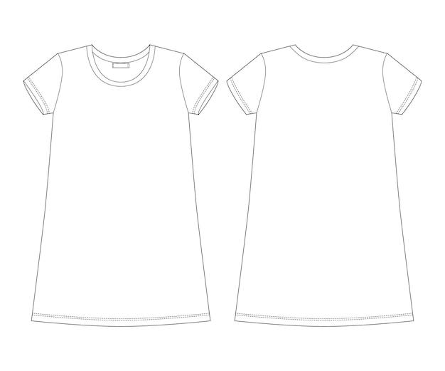 Disegno tecnico chemise in cotone. camicia da notte per donna vista posteriore e frontale.