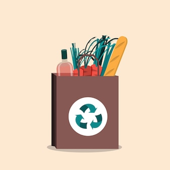 Borsa ecologica in cotone, no plastica. concetto di rifiuti zero