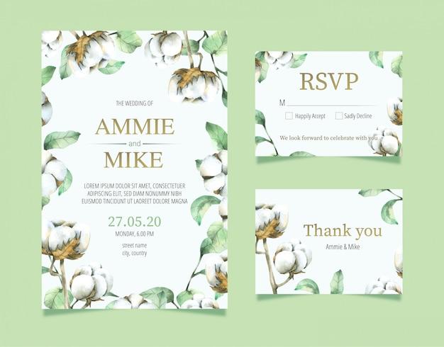 Raccolta della partecipazione di nozze del fiore del cotone in acquerello