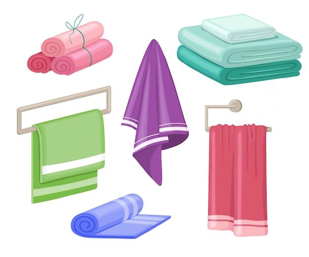 Asciugamani domestici in cotone. insieme isolato fumetto