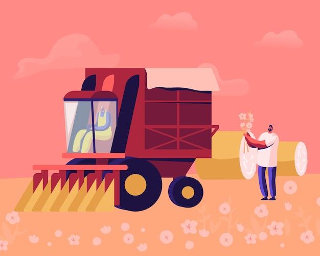 Raccoglitrice di cotone che lavora nel campo. raccolta meccanizzata e manuale di materie prime in fibra. cartoon illustrazione piatta