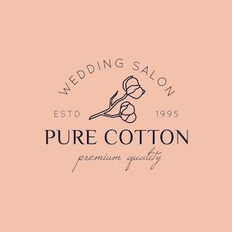 Loghi per matrimoni in cotone in stile minimal alla moda. etichette e distintivi floreali per fodera - icona vettoriale, adesivo, timbro, etichetta con fiore di cotone per abiti da sposa e negozio di abiti da sposa