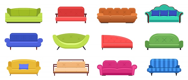 Mobili divano. divani comodi, mobili interni dello strato dell'appartamento, icone moderne dell'illustrazione dello strato domestico messe. divano mobili per interno soggiorno, divano interno salotto