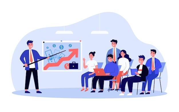 Divano che presenta un modello di business di successo ai dipendenti