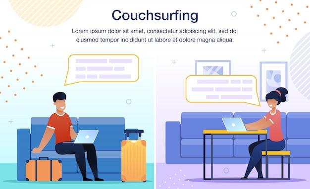 Insegna piana di vettore di servizio di rete di couchsurfing