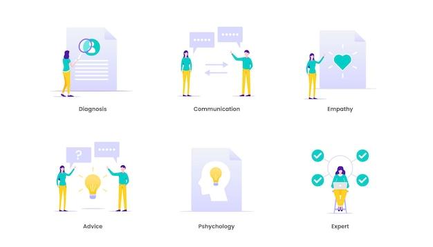 Illustrazione di consulenza. terapia, diagnosi, empatia, consulenza e concetto di supporto
