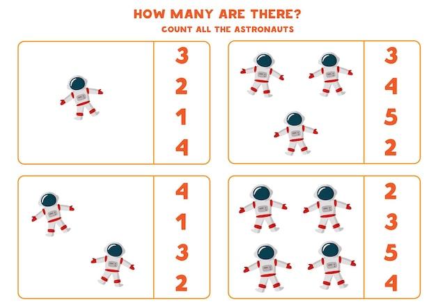 Conta tutti gli astronauti e scrivi il numero corretto nella casella. conteggio del gioco per bambini.